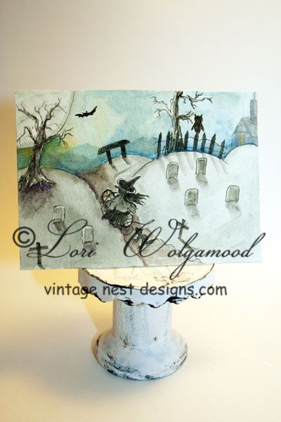 ACEO - Witch on Bike in Cemetery - Halloween Watercolor Print - Vintage Nest Designs, Creative Handmade and Hand Painted Designs