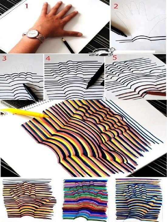 How to Draw a 3D Hand via visualartsmarianistas: Trace your hand with a pencil. Then, with a marker draw a straight line from one side of the paper to the other, making an arch when you reach the hand outline and then continuing the straight line to the other side of the paper. Original source unknown. #Drawing #3D_Hand #Optical_Illusion