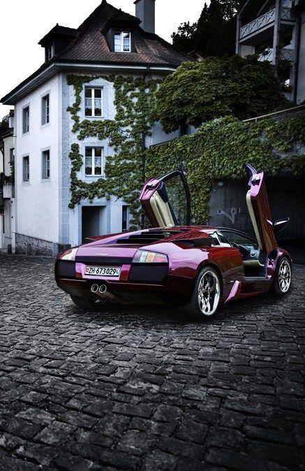 ? red purple car Lamborghini