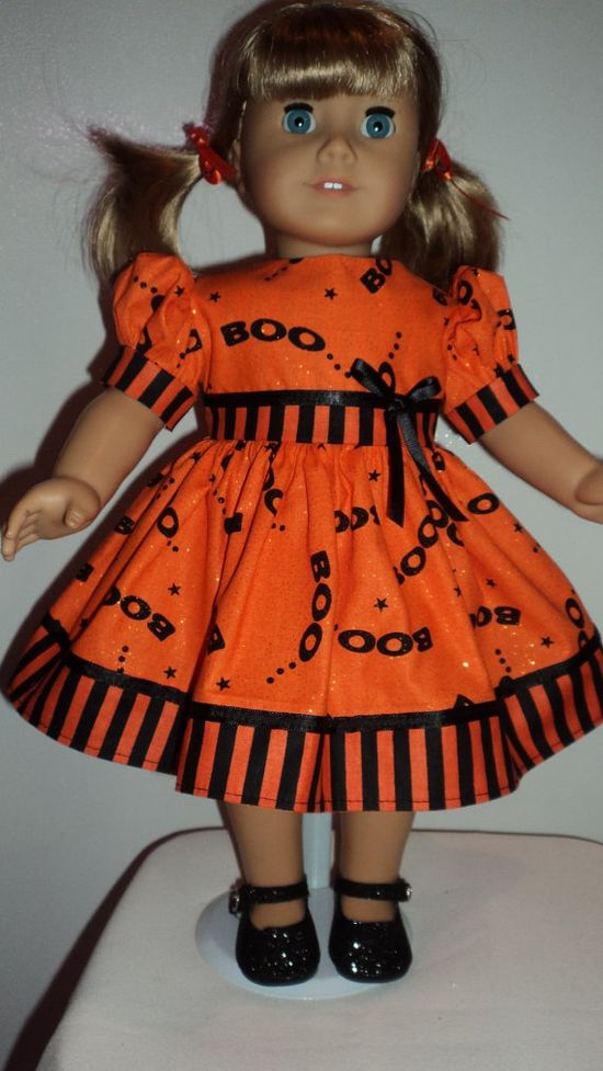 American Girl doll clothes  Boo Dress & Shoes by susiestitchit, $18.50