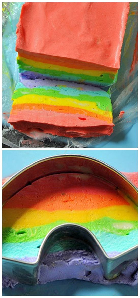 Rainbow Ice Cream looks so cool! Look at this!