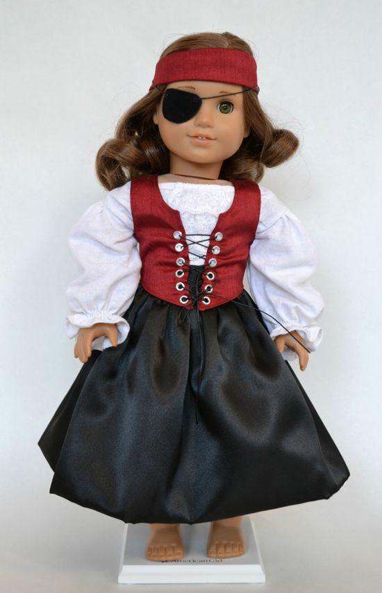 American Girl 18 Inch Doll Fantasy Pirate Costume - Cranberry