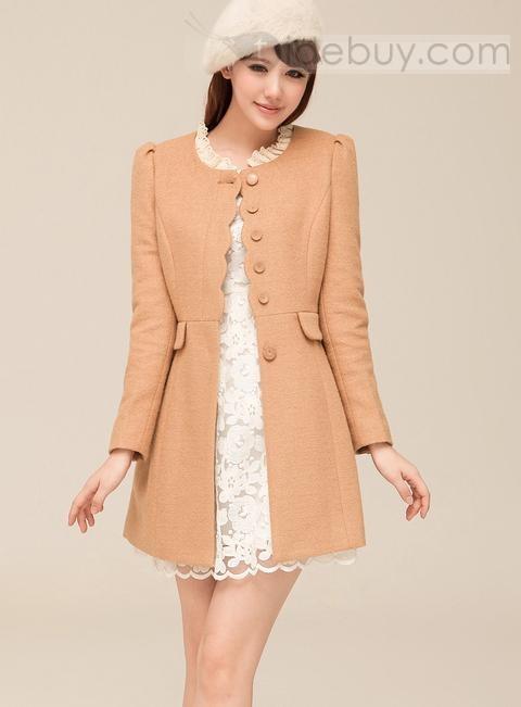 Carefree Korean Style Slim Wool Long Coat