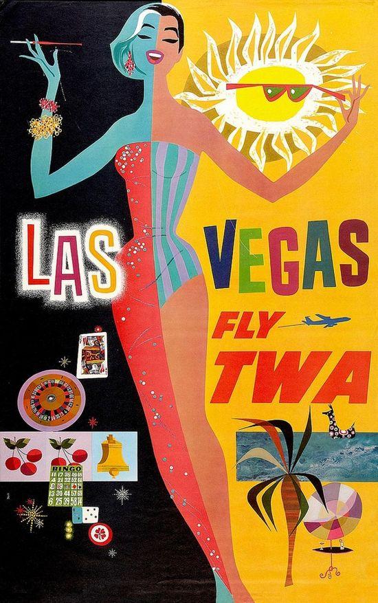 Las Vegas - Fly TWA. Poster by David Klein 1950s