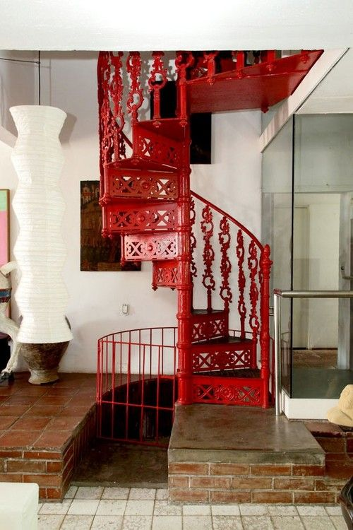 Love the red spiral staircase