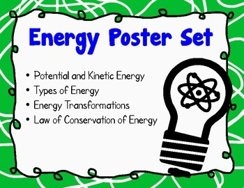 Energy Poster Set - Kinetic - Potential - Transformations