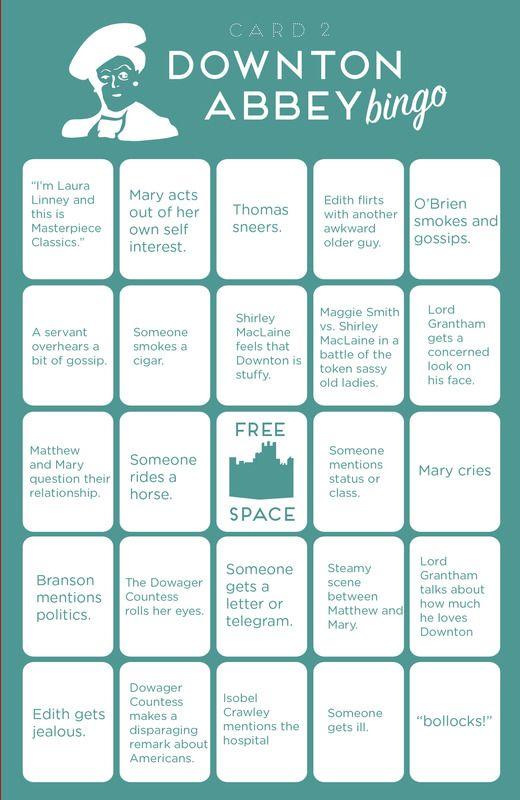 Downton Abbey: bingo cards