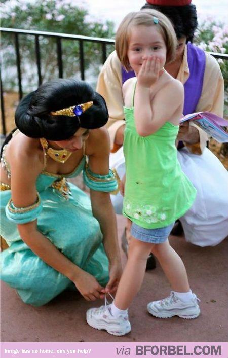 """Omg Princess Jasmine Is Tying My Shoe!"""