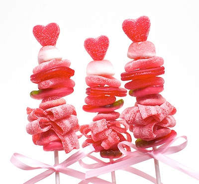 Valentine's Day heart candy skewers