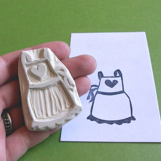 Heart Apron - Hand Carved Rubber Stamp