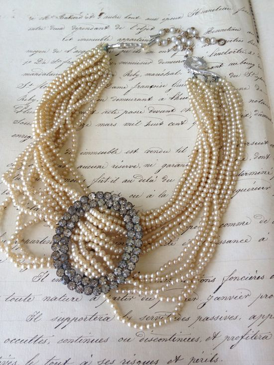 One of a Kind Antique Multi strand pearl and rhinestone buckle Necklace