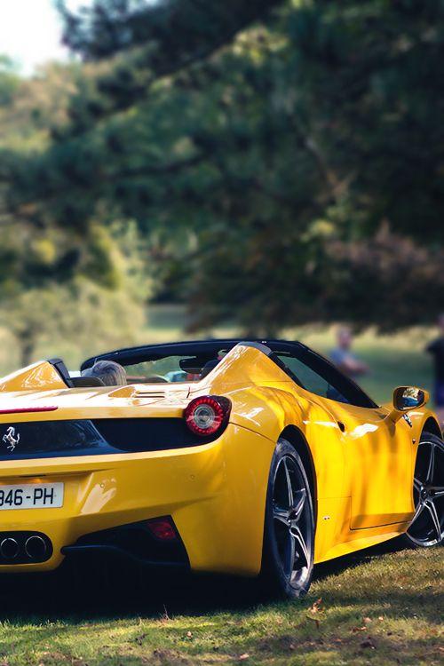 Yellow luxury car Ferrari 458