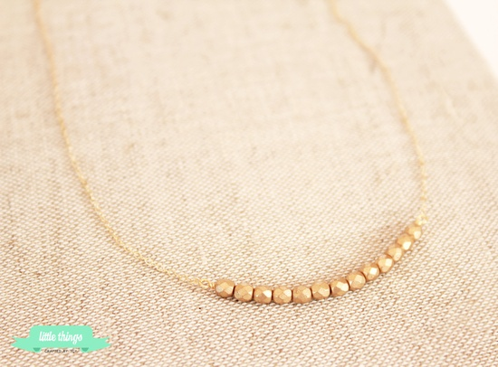 Delicate Gold Necklace - Dainty Necklace, Gold filled, Gold Beads, Bridesmaid gift. $20.00, via Etsy.