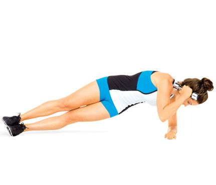 Super Powerful Planks: Work shoulders, abs and obliques with this move. Start in a side plank, left forearm on floor, a weight in right hand. Extend right elbow toward ceiling, palm above right ear. Keeping hips stacked, draw elbow toward floor (as shown). Pause; return to start for 1 rep. Do 12 reps. Switch sides; repeat. #SelfMagazine