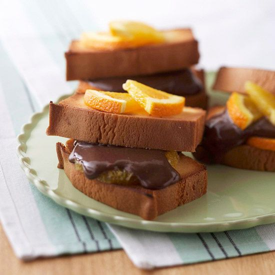 Fresh orange and creamy chocolate top slices of warm pound cake. More easy desserts: www.bhg.com/...