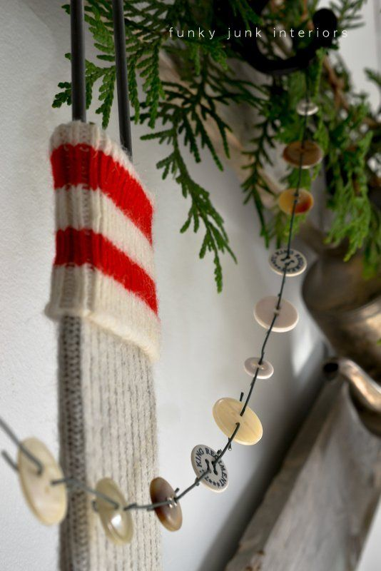Day 4: Make a button garland with ornament hooks - via Funky Junk Interiors #12daysofchristmas