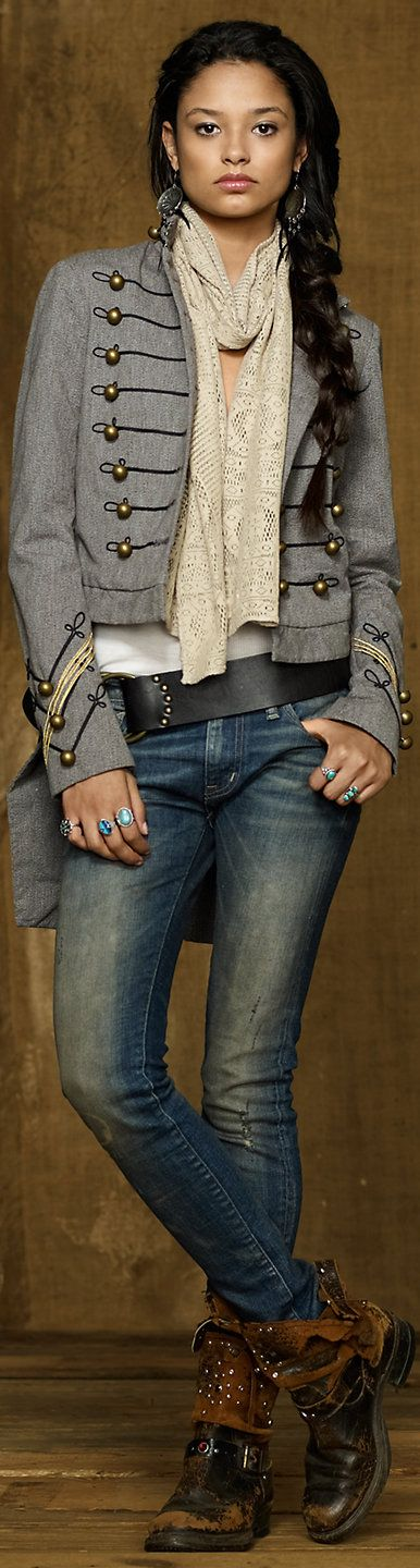 Inspiration for: military coat with rugged boots and basic denim. Ralph Lauren