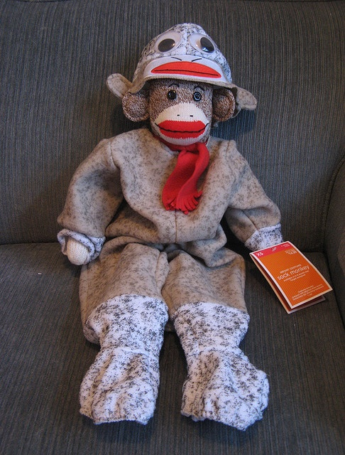 sock monkey wearing a sock monkey outfit!