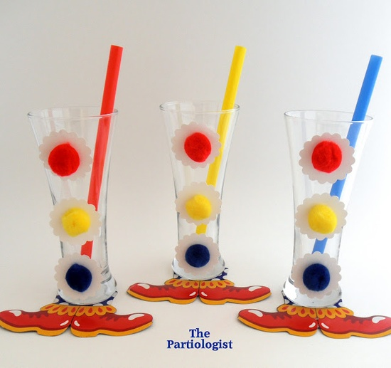 Circus Theme Party ~ diy decorated clown glasses