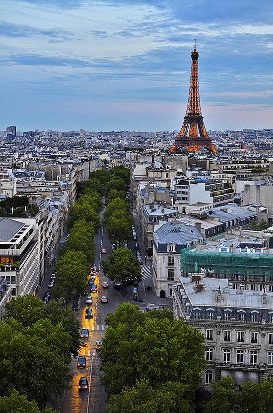 Eiffel Tower from the Arc de Triomphe, Paris, France
