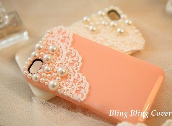 Lace iphone 5 case pearl iPhone 4 Case Peach iPhone 4 Hard Case iPhone 4s Case iPhone 4 Cases iPhone 5 Cases