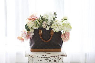 #DIY Vintage Purse Vase / flower arrangement / Louis Vuitton