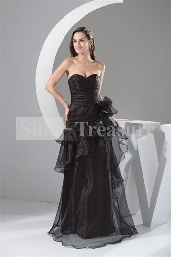 Black Floor-Length Organza Handmade Flowers Prom Dress 2013