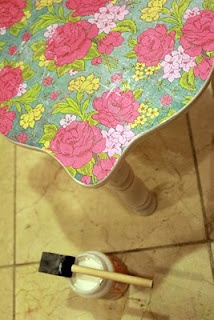 tutorial on how to mod podge furniture - could be wonderful in the girls' rooms