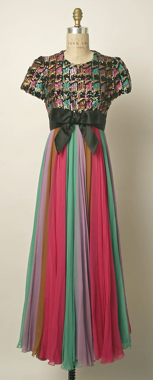 Dress, Evening, Sarmi, late 1960s, American, silk, metallic thread and plastic