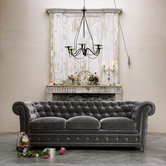 Grey Chesterfield couch