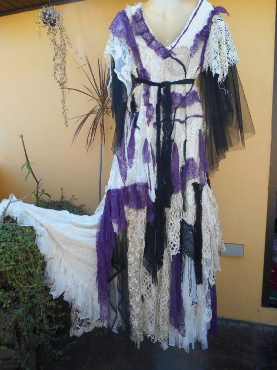 vintage+inspired+shabby+gothic+gypsy+wedding+dress+by+wildskin,+$345.00