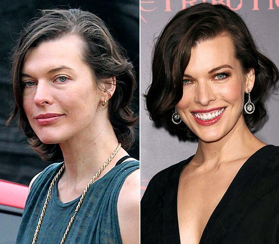 Milla Jovovich  On left: visiting a pumpkin patch in L.A. on Oct. 9, 2012  On right: promoting Resident Evil: Retribution in L.A. on Sept. 12, 2012