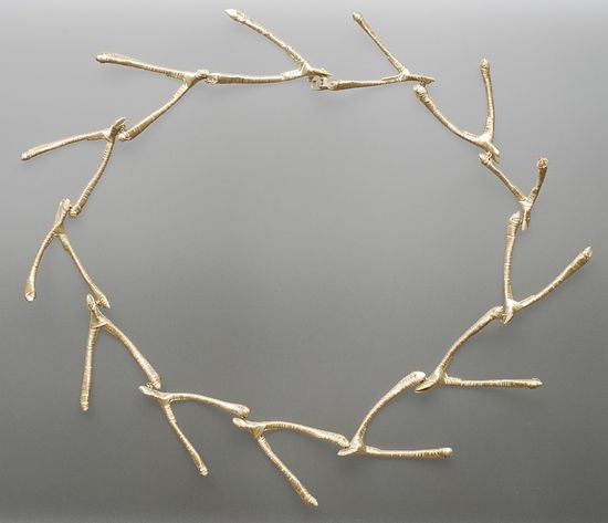 Necklace | Mia Straka. 'Wishbone'.  Bone and sterling silver