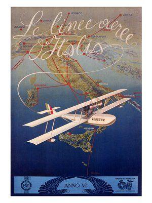 italy-travel-poster-1927-le-linee-aeree-d-italia-mario-borgoni  #TuscanyAgriturismoGiratola