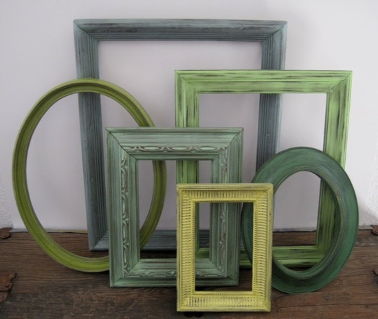Green Empty Picture Frame Set of 6 Open Gallery Wall Decor