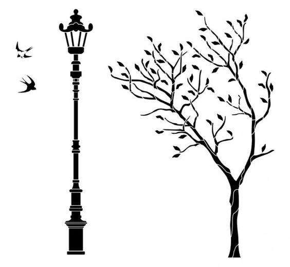 Трафарет на стену распечатать дерево
