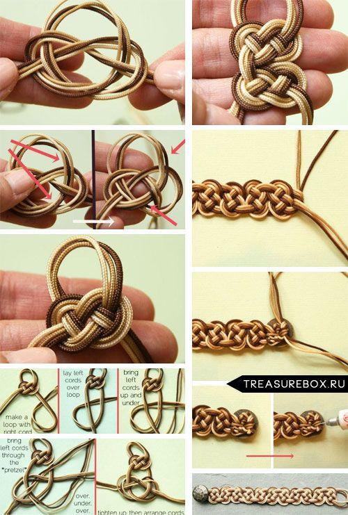 Браслет плетеный из шнурков