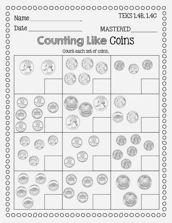 Counting coins worksheets grade 1