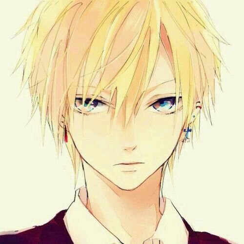 Anime boy with yellow hair and yellow eyes 2017