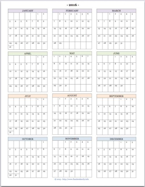 Printable Year Calendar – Printable Editable Blank Calendar 2017