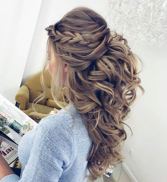 Pretty Half up half down hairstyles – partial updo wedding hairstyle ...