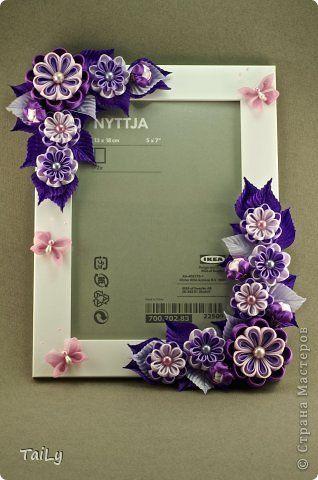 Рамка с цветами из лент своими руками