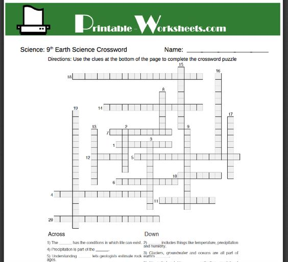Free 9th grade earth science worksheets