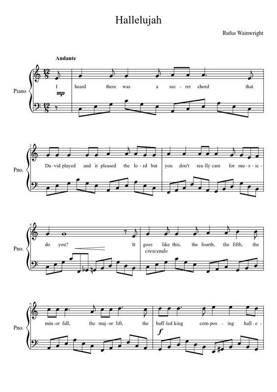 Math worksheet : leonard cohen hallelujah sab piano sheet music presto classical : rufus wainwright hallelujah piano