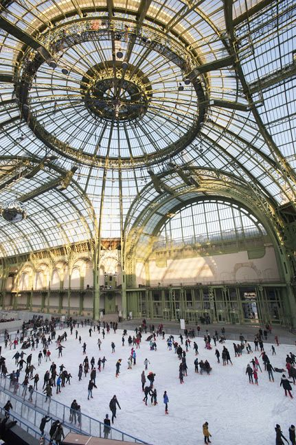 Ice skating in Paris, Grand Palais.: