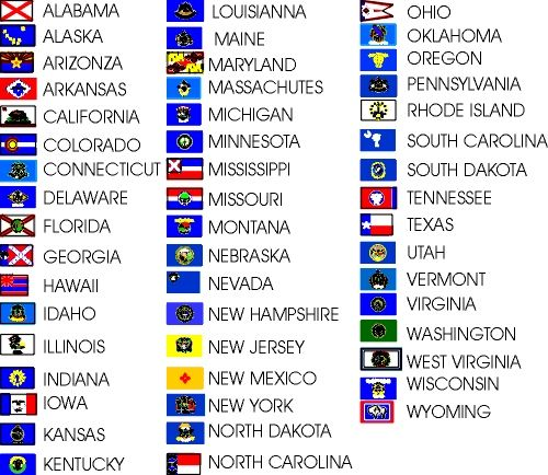 The 50 States In Alphabetical Order New Flags Usa