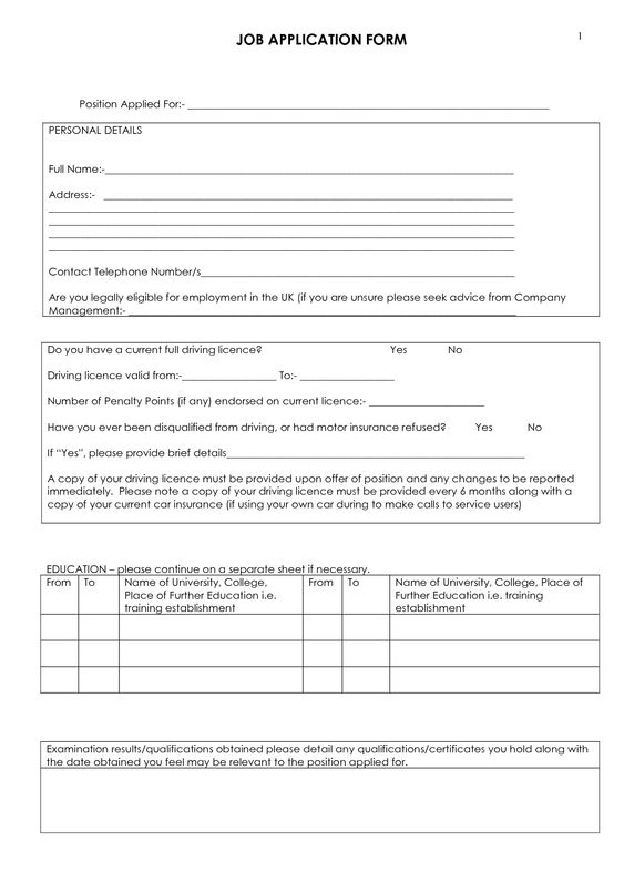 Blank Job Application Form – Generic Job Application