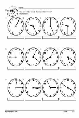 Free telling time worksheets to the nearest 5 minutes