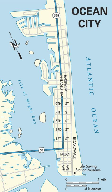 Atlantic Coast Ocean City Maryland Map East Coast Road