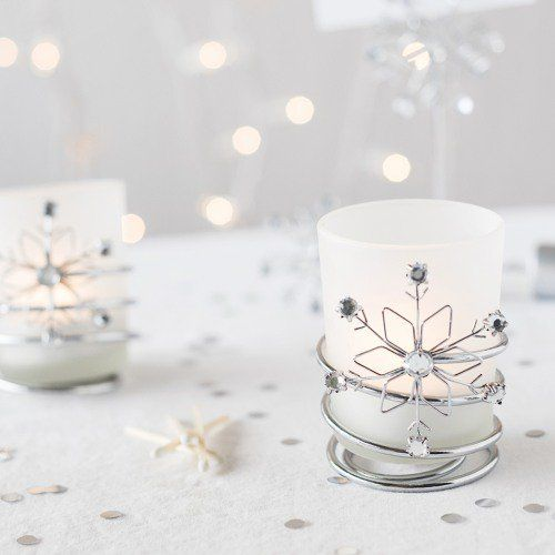 snowflake votive holder winter wedding favor